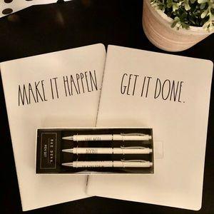 Rae Dunn notebooks and pen set